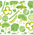 Seamless pattern of green vegetables vector image vector image