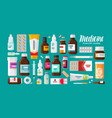 medicine pharmacy hospital set of drugs with vector image vector image