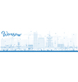 Outline Warsaw skyline with blue buildings vector image