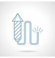 Blue flat line fireworks icon vector image