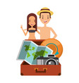 Cute couple tourists suitcase camera map and hat vector image