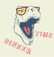 dinner time of cool dinosaur vector image