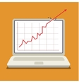 red arrow shows growth chart vector image