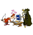 Scene with prince and a monster vector image