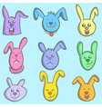 set of bunny colorful art vector image