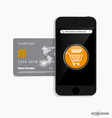 Touchscreen device with credit card electronic vector image