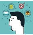 head human profile think icon vector image