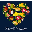 I love fresh fruits emblem in heart shape vector image