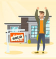 real estate agent with sold placard vector image vector image