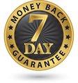 7 day money back guarantee golden sign vector image vector image