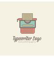Thin-lined stylized typewriter logotype vector image