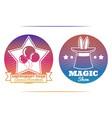 magic show and amusement park colorful emblems vector image