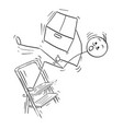 stick man cartoon of man falling from stepladder vector image