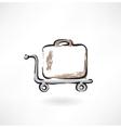 suitcase on wheels grunge icon vector image