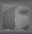 glass plates set glass banners on vector image