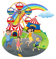 A happy family at the carnival vector image vector image