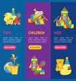 child toys banner vecrtical set vector image
