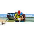 Couple of tourists near the boat on the beach vector image