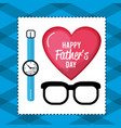 Father day card with glasses and watch decoration vector image