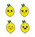 Kawaii lemon diferents faces icon vector image