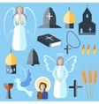 Set theme religion angel bell church dove vector image