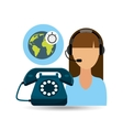 call centre woman working globe clock vector image