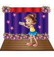A stage with a young girl holding a camera vector image vector image
