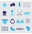 ice hockey sport blue stickers set eps10 vector image