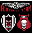 football team crests set with wings and skulls vector image