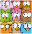 funny owl cartoon background vector image vector image