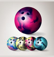 bowling ball set 3d realistic vector image