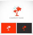 palm tree seagul tropic logo vector image