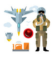 air force pilot flat style colorful vector image