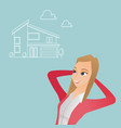 woman dreaming about buying a new house vector image
