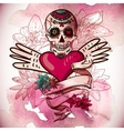 Skull Hearts and Flowers vector image