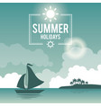 beautiful poster seaside with logo summer holydays vector image
