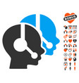call center operators icon with lovely bonus vector image