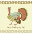 Colorful pastel turkey on yellow background vector image