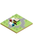 Isometric truckers cafe vector image