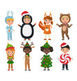 set of cute kids wearing christmas clothes vector image