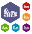 Roman Colosseum icons set vector image