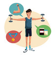 man sports barbell training lifestyle vector image