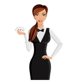 Woman casino dealer portrait vector image