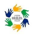Six hand print logo using Brazil flag colors vector image