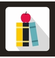 Stack of books and red apple icon flat style vector image