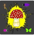 Abstract Fly Agaric with Insects Background vector image