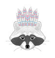 cute raccoon with war bonnet on head vector image