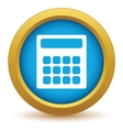 Gold calculator icon vector image