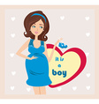 Its A boy - pregnant woman card vector image