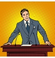 Speaker at the podium Lecture presentation vector image